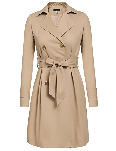 Caeasar Damen Zeitlose Klassiker Trenchcoat Doppelreiher Schlicht Elegant Mantel Wind für Damen mit Gürtel (Breasted Double Jeans)