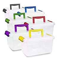 4 x 3.5lt 3.5 Litre Plastic Storage Box Container With Clip On Lid and Handle by CrazyGadget