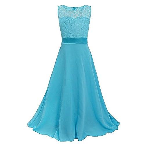 Choyee Freebily Girls Kids Sleeveless Lace Chiffon Wedding Bridesmaid  Birthday Party Formal Prom Flower Dress Blue 13-14 Years