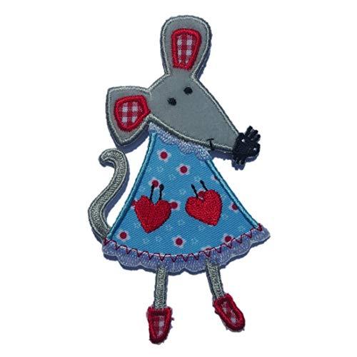 TrickyBoo 2 Aufbügler Maus 6X11cm Blau Karo Stern 9X9cm Set Aufnäher Flicken Applikationen zum Ausbessern von Kinder Kleidung mit Design Zürich Schweiz für Deutschland und Österreich
