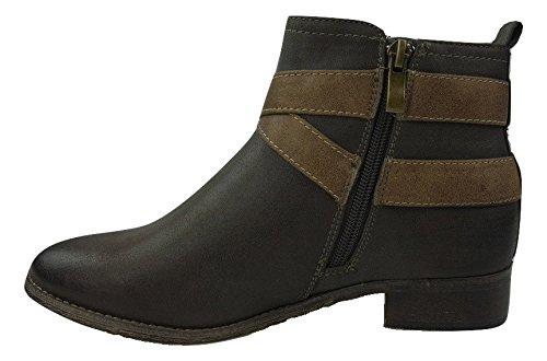 THILTRADING® - Chaussure Mode Bottine Boots plate femme Talon Bloc 2,5 cm - TT4887 Gris
