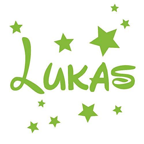 timalo® Wandtattoo mit Namen für Kinder - inkl. Sterne - personalisierbar für Jungen und Mädchen   73077b-lindgruen-100cm-30sterne - Mädchen Lindgrün
