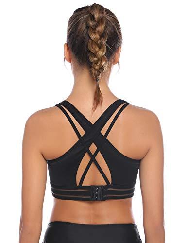 Hawiton Sport BH Starker Halt Große Brüste Stoßfest Einstellbare Frequenzweiche Gepolstert BH für Fitness, Yoga, Joggen, Laufen