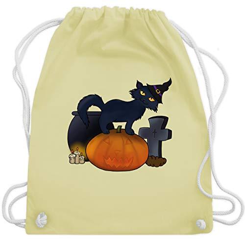 Halloween - Halloween Katze mit Hexenhut - Unisize - Pastell Gelb - WM110 - Turnbeutel & Gym Bag (Witze Halloween-katze Lustige)