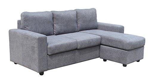 Avanti trendstore - almisa - divano ad angolo in microfibra grigia, molto comodo ed elegante, dimensioni: lap 205x85x145 cm