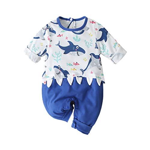 Livoral Säuglingsbaby Mädchen Lange Hülsen Karikatur Druck Spielanzug Overall Kleidung(#2 Blau,6-9 Monate)