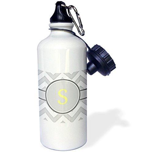 Grau und Weiß Chevron mit Monogramm gelb Initiale S Sport Wasser Flasche Edelstahl-Flasche für Frauen Herren Kinder 400ml (Und Grau Chevron Weiß)