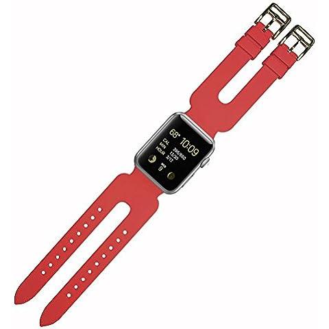 Doppia fibbia per Apple Watch Cuff Band, Silicone Cinturino da Polso di Ricambio per Apple Series 2/Serie 1/