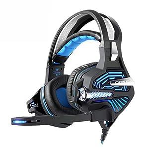 KARTELEI Gaming Headset 7.1 Virtual Shock 3D Bass Surround Geräuschunterdrückung USB Kopfhörer für PC, Xbox One, PS4, Nnintedo Switch