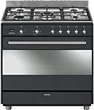 Smeg 90cm Concert Anthracite Gas/Electric Cooker Black, SSA91MAA9-1 Year Warranty