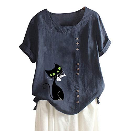 MOTOCO Damen Übergröße Kurzarm T-Shirt Top Lässig O Ausschnitt Mit Knopf Mode Tier Druck Lose Tees(2XL,Blau-1) (Giant Frauen Rennrad)