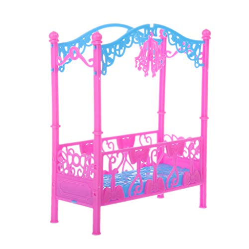 Fuwahahahahah Bett mit Ornamenten für Bett und Schlafzimmer, Möbel für Kelly Barbie Puppe Zubehör für Mädchen Spielzeug Geschenk - Große Kelly-puppe