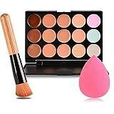 Il pacchetto include: 15 colore Concealer Brush obliqua capo + spugna di colore rosa Puff