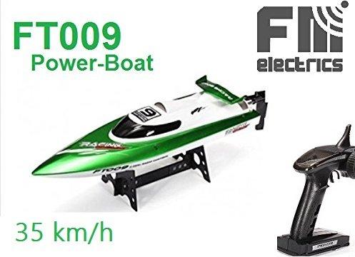 Fm-Electrics FT009 | High-Speed Rennboot 46 cm lang, bis 32 km/h schnell, mit Rollenfunktion, 2.4 GHz 4-Kanal, LiPo-Akku 7,4 Volt-1500 mAh, in grün/weiß Motorboot