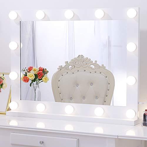 Chende Professionelle Schminkspiegel mit Licht, Hollywood Spiegel mit Beleuchtung Wandmontage, Groß Beleuchteter LED Kosmetikspiegel mit 3 Farbumbauten für Schminktisch(Weiß)
