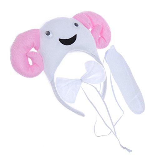 YeahiBaby 3pcs Kinder Tier Kostüm Set Ohren Schwanz und Fliege Schaf - Schaf Ohren Und Schwanz Kostüm