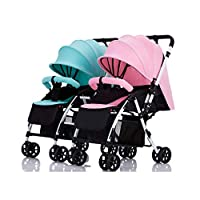 Xiao ping Twin Stroller Detachable Can Sit Reclining Lightweight Two-way Folding Two-child Double Trolley (powder + Green)