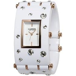 K & BROS Frauen 9530-4 Ice-Time Galassia White Crystal Akzent weiss Uhr