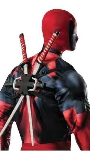 Fancy Me Herren Jungen Offiziell Marvel Deadpool Doppel Ninja Schwert Rucksack Kostüm Kleid Outfit Waffen - Herren Doppel Kostüm