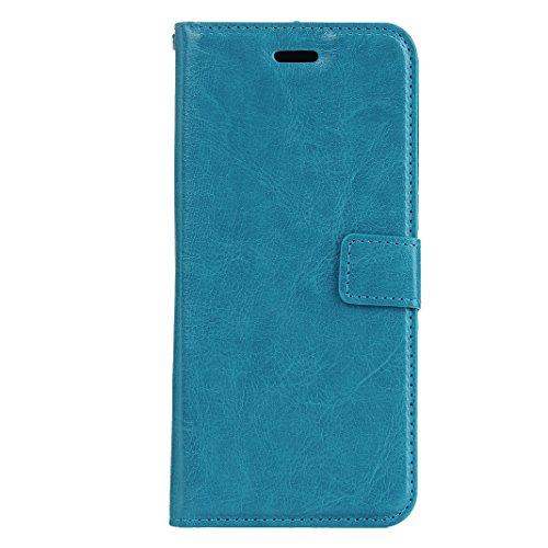 LG X5 Cover Case Pelle HuaForCity® Portafogli Custodia in Pelle PU Copertina con Slot per schede Magnetica Flip Chiusura Stile del Libro Supporto Funzione Bumper Caso for iphone LG X5 Blue