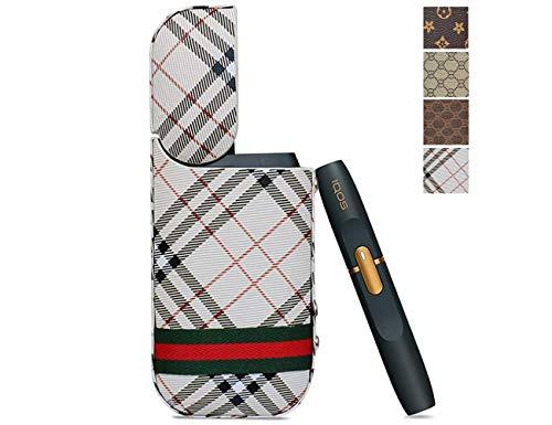 Tuotuo PU Hülle für IQOS 2.4 Zigarette Case Kunstleder für 2.4 Plus Kratzfest Tasche Schutzhülle Lederetui Anti-Fall Box (Beige-Square)