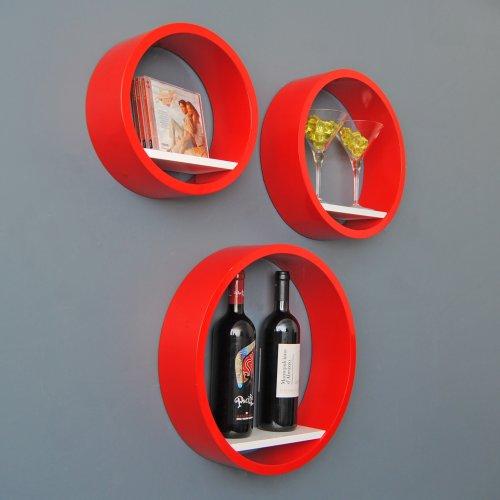Lot de 3 étagères Lounge Cube étagère rondes style années 70 rétro Étagère murale en rouge et blanc