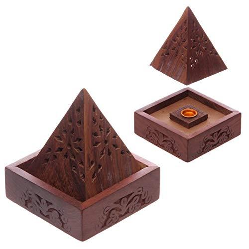 Brucia incenso in legno, sheesham piramide con decorazioni floreali