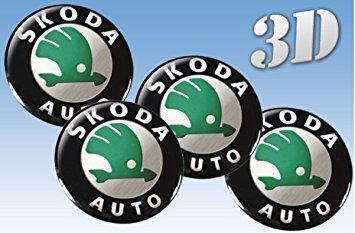 Skoda 4 Stück★ 60mm Aufkleber Emblem für Felgen Nabendeckel Radkappen