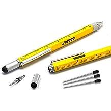 Alintor Multifunktionale Stift, Geschenke für Männer oder Frauen, 4 Schwarz Nachfüllung, Personalisierte Männer Geschenke (Gelb)