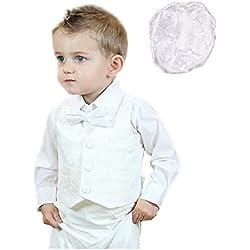 Traje para bautizo, 6piezas, 100 % algodón, para bebé, con chaleco de jacquard 85a blanco blanco Talla:M(6-9 months)