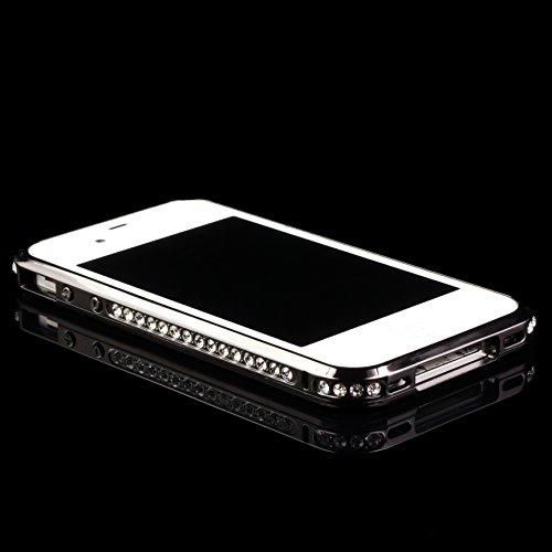 URCOVER® Cadre de Métal Glittery en Aluminium - Coque Strass Scintillantes | Apple iPhone 4 / 4S | Metal - ALU in Argent | Housse Case Cover Pailleté Faux Diamant Noir / Gris