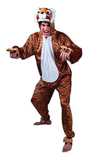 Kostüm Tiger Herren - Boland 88018 - Erwachsenenkostüm Tiger Plüsch, Einteiler mit Kapuze, Größe M / L