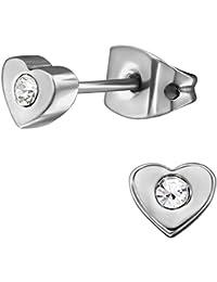 EYS Jewelry Flowers White Glitter Crystal 5mm Titanium Stud Earrings JwfuH