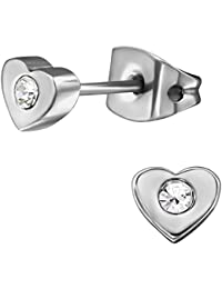 EYS Jewelry Flowers White Glitter Crystal 5mm Titanium Stud Earrings