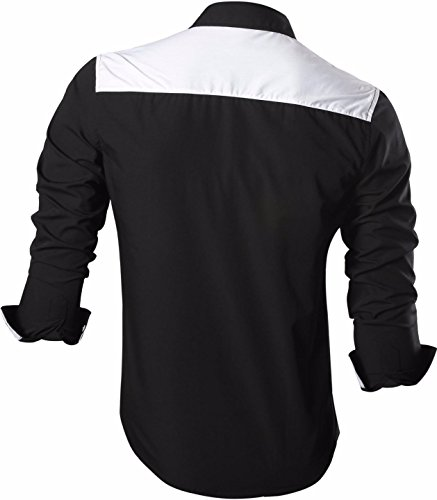 jeansian Herren Freizeit Hemden Shirt Tops Mode Langarmshirts Slim Fit 8371 Z033_Black