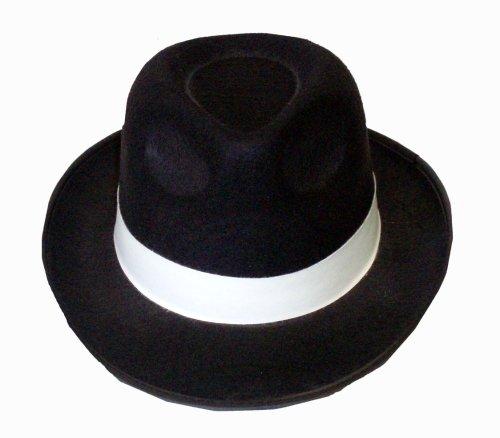 Henbrandt Al Capone Gangster Hut Erwachsene Hut Schwarz Mit Weißer ()