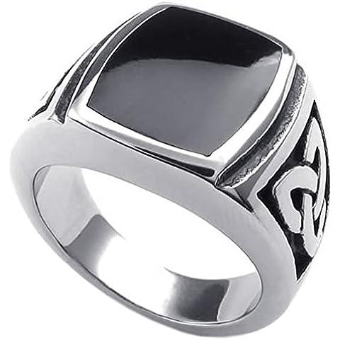 KONOV Joyería Anillo de hombre, Nudo Celta, Celtic Knot Sello, Acero inoxidable, Color negro plata (con bolsa de