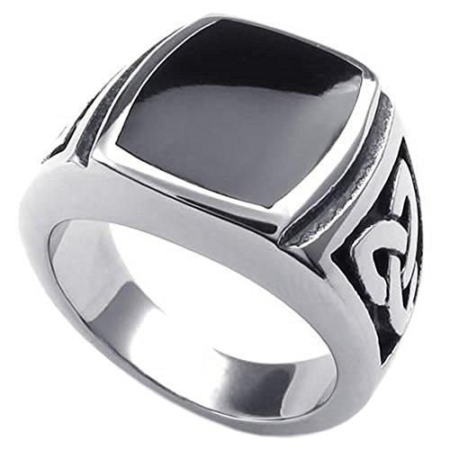 KONOV Joyería Anillo de hombre, Nudo Celta, Celtic Knot Sello, Acero inoxidable, Color negro plata - Talla 25 (con bolsa de regalo)