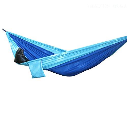 Camping supplies Casual Doppel-Leinwand Fallschirm Hängematte Indoor Kinder Schaukel Schlafzimmer Hängematte Last tragen stark (Himmel blau + hellblau) (Blau-schlafzimmer-hängematten)