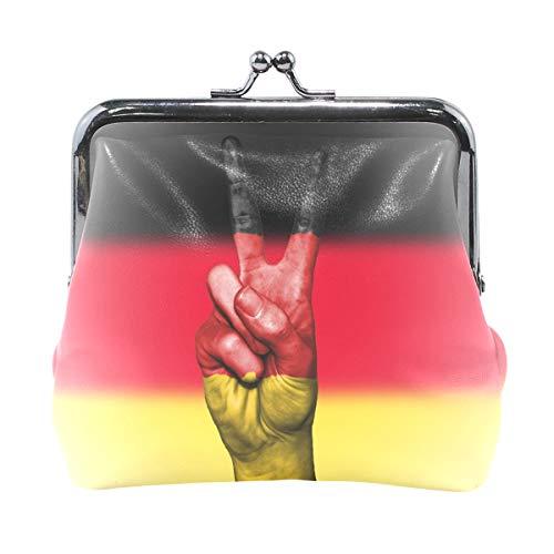 XiangHeFu Damen Geldbörse Peace Hand Deutschland Flagge Clutch Leder