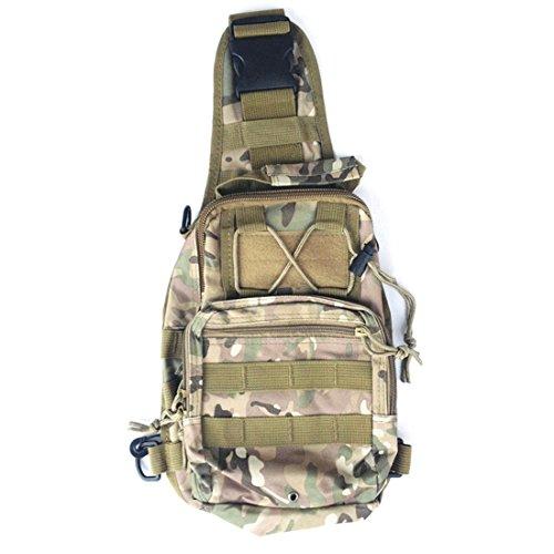 Yihya Militare multifunzionale Nylon bag Tactical Marsupio Tattico Messenger Zaino Bag Zaino di Assalto per Sport Esterni Avventura Climbing & Riding Borsa da Viaggio - Spalla-kaki Spalla-camouflage