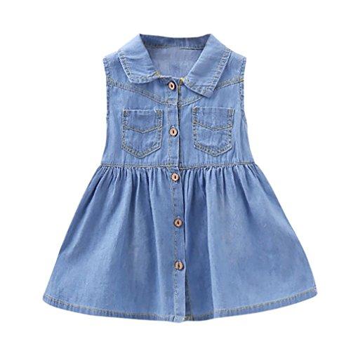 Baby Kleider Mädchen Jeanskleid Schulterfreies Denimkleid Ärmellos Jeans Shirt Kleid mit Blusenkragen und Knopf Kleinkind Sommerkleid Hemdkleid Taillennaht mit Kräuselfalten (Blue, 90CM 18Monate)