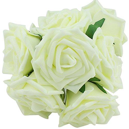 floristikvergleich.de 10 Stücke Kunstblumen Rosa Blume für Hochzeit Brautjungfer Brautstrauß Tischdeko (Creme)