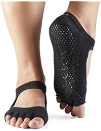 Mujer 1par Toesox Bella Media Toe Organic Cotton parte delantera abierta de yoga Calcetines, negro, large