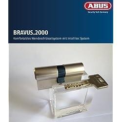 Abus Bravus 2000 Seguridad - DOBLE CILINDRO CON 5 LLAVES, longitud 30/40mm con tarjeta de Seguro Protección elevada de copias, Equipo adicional: Emergencia Y DOBLE EMBRAGUE
