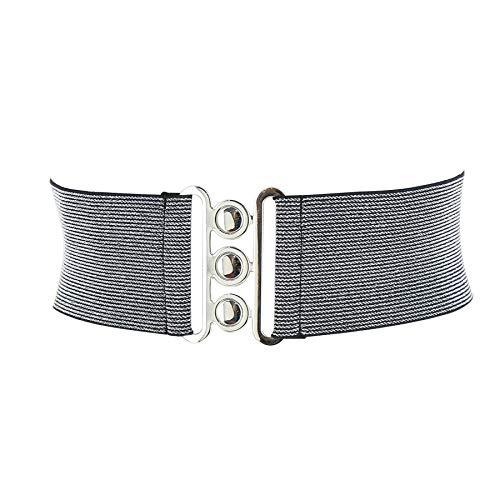 Fashiongen - cintura di largo elastica da donna gloria, fatto in francia - argento, medium - 38/40