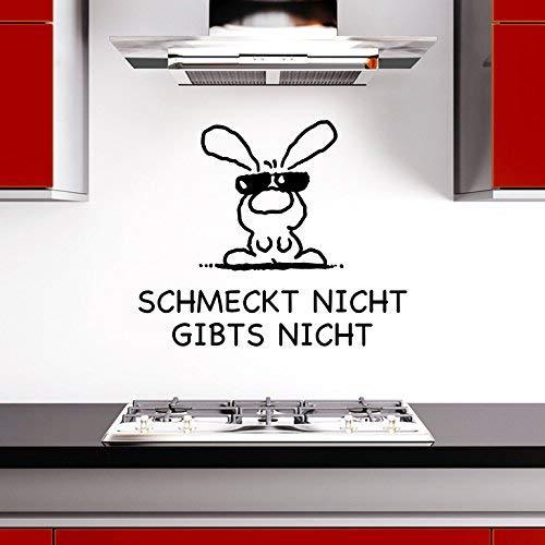 WandtaL Wandtattoo Spruch 'Schmeckt nicht gibts nicht' + Hase Küche Esszimmer schwarz 47 x 40 cm