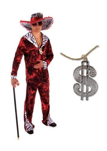 Herren Kostüm 70's Big Daddy Zuhälter, Rot, Enthält auch eine goldene Proll-Halskette mit Dollarzeichen, Einheitsgröße passt für Herren Größe S, M und L, Perfekt für einen (Daddy Kostüme Pimp Big)