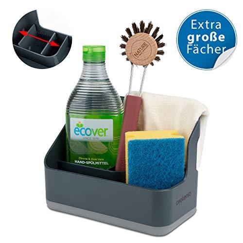 cookenia - Spülbecken Organizer für die Küche - perfekt zur Aufbewahrung von Lappen, Spülmittel, Spülbürste und Spülschwamm an einem Ort - designgrau -