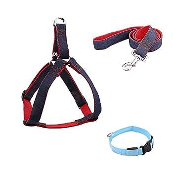 TTLIFE Set de 3 Excellent Harnais Réglable pour Chiens et Laisses Ceinture de sécurité avec Collier de sécurité à LED pour Petit/Moyen/gros chiens Tailles L/XL/XXL